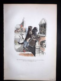 Grandville 1842 Hand Col Print. Cats on Roof